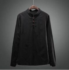 fbfadad3d6 Mandarín Camisas para hombres blanco Lino Camisas hombres Navy manga larga  cuello chino Camisas para hombre del collar del soporte camisa lino