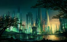 Neo Hong-Kong Sunset by JJcanvas | NOT OUR ART - Please click artwork for source | WRITING INSPIRATION for Dungeons and Dragons DND Pathfinder PFRPG Warhammer 40k Star Wars Shadowrun Call of Cthulhu and other d20 roleplaying fantasy science fiction scifi horror location equipment monster character game design | Create your own RPG Books w/ www.rpgbard.com
