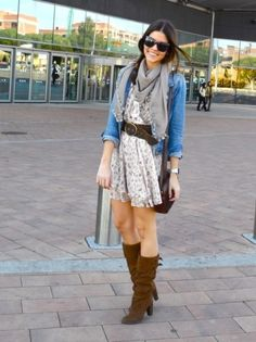 light dress with boots, belt and scarf - love the layered casual look