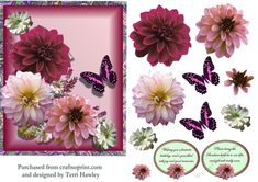 - Dahlia greetings decopupage card front is a great card to give to someone with a birthday, or to get well, has 2 lab. Get Well, Dahlia, Decoupage, Birthday Cards, Lab, Card Making, Floral, Pink, How To Make