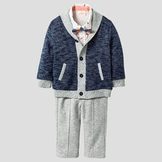 Baby Boys' 4pc Collar Sweater, Woven Top, Bowtie & Pants Set - Baby Cat & Jack™ Navy/Gray