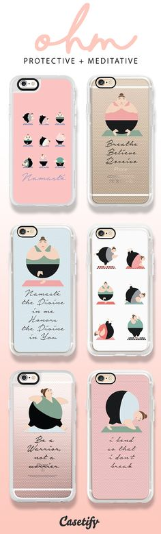 Yoga, dusty pink, spots, blue, pose, namaste, excersise, quote, round people, design, iphone, case, protection, casetify, breathe,