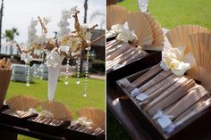 wooden fans and ivory flowers