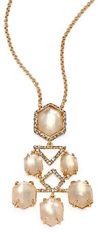 Alexis Bittar Mother-of-Pearl Doublet & Crystal Chandelier Pendant Necklace