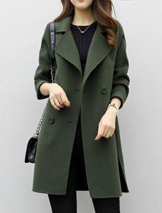 Jaqueta de Sarja Feminina Gola Alta com Botões Verde Militar