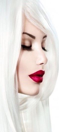 Red lip Perfect Red Lips, White Lips, White Hair, Glamour Shots, Glossy Lips, Beautiful Lips, Pale Skin, Mi Long, Woman Face