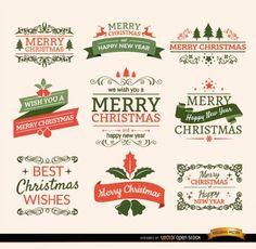 Elementos tipográficos de Navidad, etiquetas y cintas vintage.