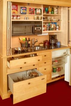 Small Space Living: Small Space Kitchen: The Armoire Kitchen Small Space Kitchen, Compact Kitchen, Mini Kitchen, Kitchen Units, Small Space Living, Kitchen Ideas, Small Kitchens, Living Spaces, Hidden Kitchen