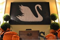 Painted Wooden Swan Sign