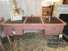 Grange Directoire writing desk in rouge. Measures 64*28*30. Accent table from the same collection available at time of posting.