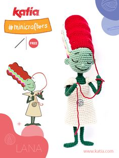 Sfida Amigurumi con Lana e Ovi: Modello gratuito dei Minicrafter di Katia Crochet Hats, Mini, Halloween, Cotton, Free, Baby Sheets, Amigurumi Patterns, Knitting Hats, Spooky Halloween