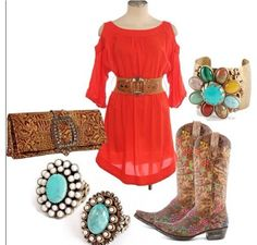 ~~~country fashion~~~ Splash of red love it!