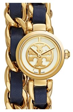 Swooning over this gorgeous watch from Tory Burch!  The Reva watch boasts the iconic double-T logo dial designed in a smaller, elegant size while Supple leather winds through the double-wrap curb-chain bracelet.