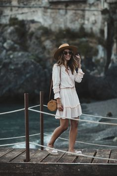 MINORE - Lovely Pepa by Alexandra. Pale pink silver stars dress+beige tassel backless espadrilles+rattan crossbody bag+straw hat+sunglasses. Summer Casual Outfit 2017
