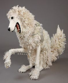 I can't tell if it's a Lion a Wolf or a Poodle.I'm going with Poodle. Paper Mache Clay, Paper Mache Sculpture, Textile Sculpture, Paper Mache Crafts, Dog Sculpture, Paper Sculptures, Paper Clay, Animal Sculptures, Carnival Of The Animals