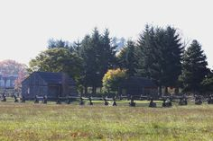Reconstructed building near Fort Vancouver, WA. I-5 lift bridge in the background.  10/2013.