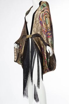 Phenomenal 1920s Lamé Cocoon Coat with Fringe | From a collection of rare vintage coats and outerwear at https://www.1stdibs.com/fashion/clothing/coats-outerwear/
