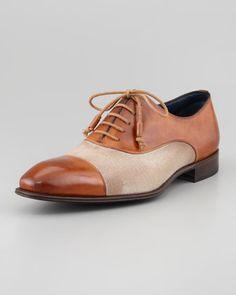 Stefano Branchini Leather & Linen Cap-Toe Oxford, Tan - Bergdorf Goodman