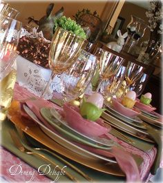 Easter Luncheon Tablescape by dining delight, via Flickr  http://dining-delight.blogspot.ca/2013/04/easter-table-2013.html