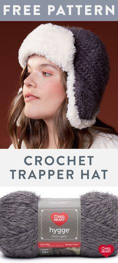 Crochet Trapper Hat free easy crochet hat in Hygge and Hygee Fur yarn. Look to t… Crochet Trapper Hat free easy crochet hat in Hygge and Hygee Fur yarn. Look to t…,New Free Patterns. Easy Crochet Hat, Crochet Beanie, Easy Crochet Patterns, Free Crochet, Knitted Hats, Double Crochet, Hat Patterns, Simple Crochet, Braided Scarf