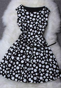 Polka Dot Printed Sleeveless Dress