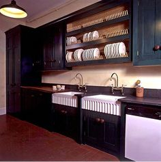 Country kitchen with double butler sinks