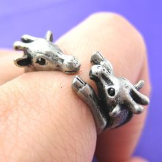 Giraffe Mom and Baby Animal Wrap Ring in Silver Sizes 5 to 9 | DOTOLY