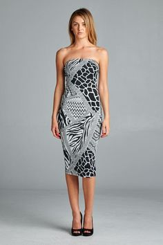d261a8fb8bca Sexy but classy tube dress with abstract animal print. Fitted but soft and  comfortable. Made in USA. www.cherishusa.com www.fashiongo.net Cherish