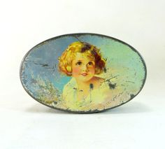 Vintage Art Deco Tin, Crawford Pretty Blonde 'Shirley Temple' Girl Shabby Chic Lidded Biscuit Tin Sample Size 1930s by keepsies on Etsy £14.00