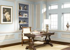 This is the project I created on Behr.com. I used these colors: DELICATE MIST(490E-2),ANTIQUE WHITE(1823),CALM WATER(610C-2),OFF WHITE(1873),