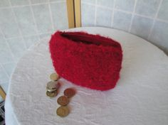 red felt coin purse knitted felt purse coin/jewel pouch