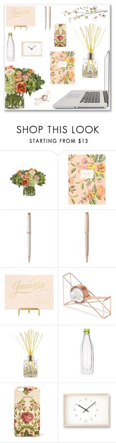 """the work desk"" by harryvimes ❤ liked on Polyvore featuring interior, interiors, interior design, home, home decor, interior decorating, NDI, Rifle Paper Co, Parker and Sugar Paper"