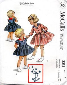 1950s McCalls 2212 Girls Nautical Sailor Style Dress Pattern with transfer for Anchor toddlers vintage sewing pattern  by mbchills