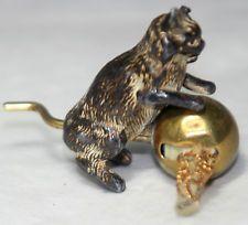 ANTIQUE c1800's ~~KITTEN CAT w/ BALL METAL tape measure~~NOVELTY,figuraI
