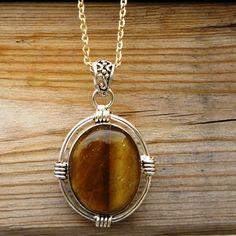 Tiger Eye Gemstone Pendant  Gift Jewelry  by Hummingbirdhounds