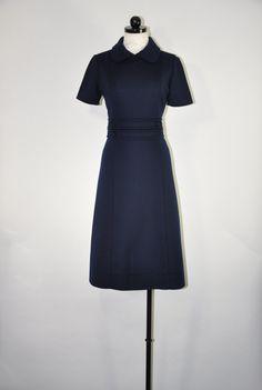 60s navy wool dress / 1960s knit jersey dress / peter pan collar dress / vintage short sleeve dress