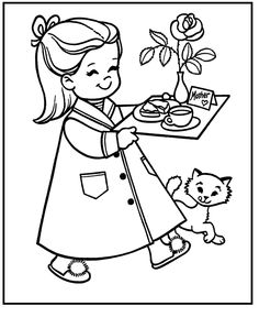 sally wants to do something for mom on mothers day coloring picture for kids
