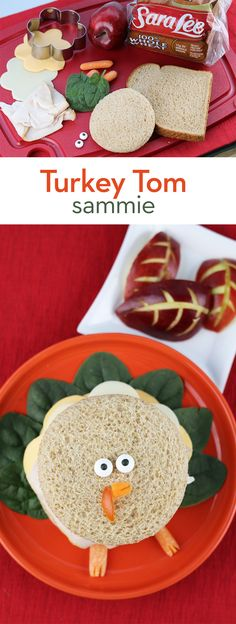 Turkey Tom Sammie: Your kids will get a kick out of this fun and festive turkey sandwich on Sara Lee Classic 100% Whole Wheat Bread. Perfect for using up leftover Thanksgiving turkey! Just layer with mayonnaise, American and Provolone cheeses. Then arrange spinach leaves to create Turkey Tom's tail. And don't forget the face! We made ours using a carrot and candy eyes.