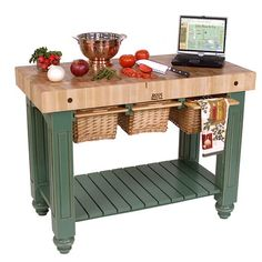 American Heritage Kitchen Island with Butcher Block Top Base Finish: Useful Gray - http://kitchenislandspot.com/american-heritage-kitchen-island-with-butcher-block-top-base-finish-useful-gray-535831234/