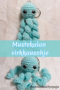 Tällä kertaa on luvassa pieni mustekala. Crochet Potholder Patterns, Granny Square Crochet Pattern, Crochet Doll Pattern, Baby Knitting Patterns, Knitted Bunnies, Crochet Bunny, Diy Crafts Crochet, Sewing Crafts, Crochet Dinosaur