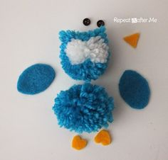 Pom Pom Owls - Repeat Crafter Me - Coming at you with another adorable owl yarn craft today! These cut little Pom Pom Owls are easier - Pom Pom Owl, Pom Pom Animals, Sock Animals, Pom Pom Crafts, Yarn Crafts, Owl Crafts, Kids Crafts, Craft Stick Crafts, Diy And Crafts