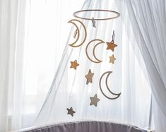 Baby mobile moon and stars - Crib mobile - baby mobiles - nursery mobile - wooden mobile - mobile bebe - star mobile - mobile hanging Star Mobile, Mobile Mobile, Moon Nursery, Moon Crib, Star Nursery, Future Mom, Unique Baby Gifts, To Infinity And Beyond, Decoration