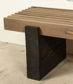Indoor/Outdoor Slat Bench in Douglas Fir by For Sale at Wood, Diy Wood Projects Furniture, Wood Furniture Plans, Woodworking Furniture, Wood Furniture Diy, Furniture, Wood Furniture, Wood Slats, Diy Woodworking
