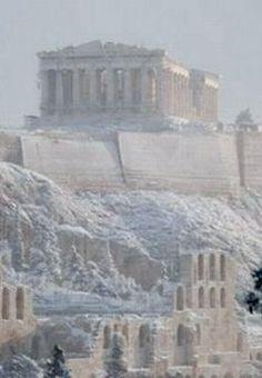 Acropolis under the snow, Athens