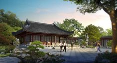 Artist'S rendering of the flowery brush library 筆花書房. designed in the style of a scholar's studio for painting and calligraphy, the flowery brush Garden Lighting Video, Chinese Garden, Chinese Art, Garden Diy On A Budget, Huntington Library, Corning Museum Of Glass, Theory Of Love, Royal Academy Of Arts, Rock Pools