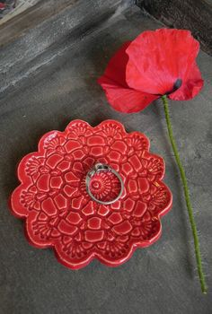 Valentine's Day Ceramic Flower Plate Poppy Red Dish by Ceraminic