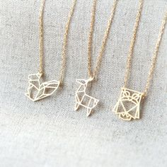Golden Necklaces + Geometric + Animal Shapes + Squirrel + Owl + Deer