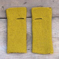 sandra juto wrist worms in mustard merino wool.