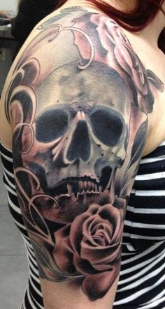 29 Best Realistic Skull And Rose Half Sleeve Tattoo Images Arm