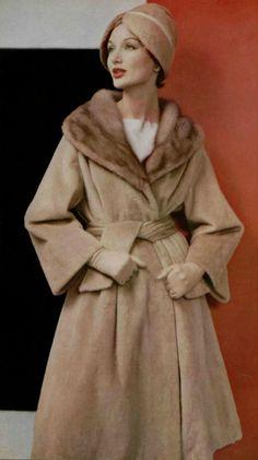 1958 Lanvin-Castillo camel coat with fur-trimmed shawl collar...camel cloche....